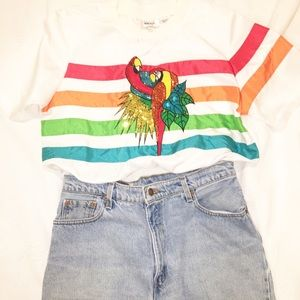 VTG 90s Multicolored Striped Sequined Top SZ:S